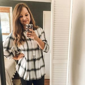 GAP Plaid Half Button Tunic